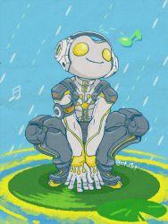 1boy alternate_costume animal_helmet bodysuit chahata frog lily_pad lucio_(overwatch) musical_note overwatch ribbit_lucio solo squatting twitter_username
