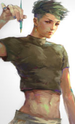 1boy blue_nails crop_top earrings green_hair holding holding_pen jewelry jojo_no_kimyou_na_bouken kishibe_rohan micas midriff nail_polish pen solo