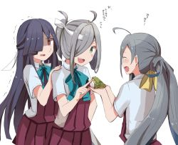 3girls ahoge asashimo_(kantai_collection) black_hair blue_bow blue_bowtie blue_hair bow bowtie brown_eyes commentary_request dress eyes_closed frog green_eyes grey_hair hair_over_one_eye hand_on_another's_shoulder hayashimo_(kantai_collection) headband hime_cut index_finger_raised kantai_collection kiyoshimo_(kantai_collection) long_hair low_twintails multicolored_hair multiple_girls open_mouth purple_hair riz_(ravel_dc) scared school_uniform sharp_teeth shirt short_sleeves silver_hair sleeveless sleeveless_dress sweatdrop teeth translation_request trembling twintails very_long_hair white_background white_shirt