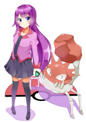 1girl bakemonogatari blue_eyes crab crossover kingler long_hair monogatari_(series) pokemon purple_hair school_uniform senjougahara_hitagi standing stationery yamae_saki