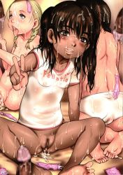 aftersex age_difference ass barefoot black_hair blonde_hair bottomless bukkake cameltoe censored condom cum cum_in_pussy cum_on_body cum_on_lower_body cumdrip e10 facial feet fellatio flaccide flat_chest from_behind group_sex kneeling loli looking_at_viewer multiple_boys multiple_girls nipples nude oral orgy penis pov pussy soles tan_skin toes tongue_out used_condom v wet