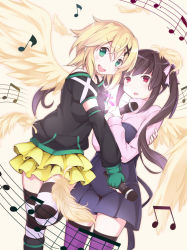 2girls akatsuki_kirika artist_request black_hair blonde_hair green_eyes hair_ornament looking_at_viewer multiple_girls music_notes purple_eyes ribbon senki_zesshou_symphogear simple_background tsukuyomi_shirabe twintails wings yuri
