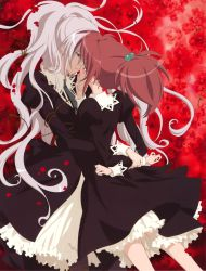 2girls absurdres aoi_nagisa big_hair black_dress chin_grab dress floral_background flower hair_bobbles hair_ornament hanazono_shizuma highres hug incipient_kiss long_hair long_sleeves multiple_girls necktie official_art petals puffy_long_sleeves puffy_sleeves red_background red_hair rose sakai_kyuuta scan school_uniform silver_hair strawberry_panic! vines yuri