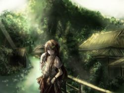 1girl blouse bracelet bridge brown_hair dappled_sunlight futatsuiwa_mamizou futatsuiwa_mamizou_(human) glasses hair_ornament hand_in_hair highres jewelry leaf_hair_ornament light_rays long_hair looking_at_viewer payot sketch skirt smile solo sunbeam sunlight thkani touhou tree very_long_hair village
