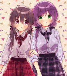 2girls :3 alternate_hairstyle arm_hug black_hair bow casual green_eyes hair_bow hair_ribbon kuroki_(ma-na-tu) long_hair love_live!_school_idol_project low_twintails multiple_girls parted_lips plaid plaid_skirt pleated_skirt purple_eyes purple_hair ribbon skirt toujou_nozomi twintails yazawa_nico