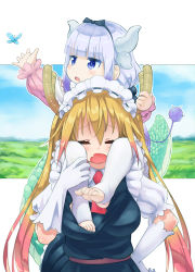 2girls bangs barefoot beads blonde_hair blue_eyes blunt_bangs blush breasts butterfly capelet carrying dragon_girl dragon_horns dragon_tail dress eyebrows_visible_through_hair eyes_closed feet gloves hair_beads hair_ornament hairband highres horn_grab horns kanna_kamui kobayashi-san_chi_no_maidragon large_breasts lavender_hair long_hair maid maid_headdress matsukawa_li multiple_girls necktie open_mouth revision shoulder_carry tail thighhighs toeless_legwear tooru_(maidragon) twintails white_gloves white_legwear