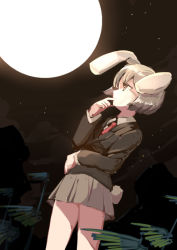 1girl animal_ears arm_around_waist bamboo beige_hair beige_skirt blazer brown_eyes bunny_ears bunny_tail cloud collared_shirt finger_to_face full_moon long_sleeves looking_up moon moonlight necktie night night_sky perspective reisen shiny shiny_hair shirt sketch sky solo star_(sky) tail touhou wind yetworldview_kaze