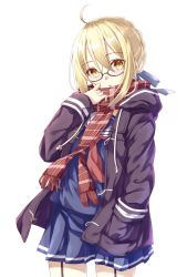 1girl :o ahoge bangs black-framed_eyewear black_coat blonde_hair blue_ribbon blue_shirt blue_skirt coat cowboy_shot duffel_coat eyebrows_visible_through_hair fate/grand_order fate_(series) fringe garter_straps glasses hair_between_eyes hair_ribbon hand_in_pocket hand_to_own_mouth hand_up heroine_x heroine_x_(alter) highres hood hood_down hooded_coat long_sleeves looking_at_viewer neckerchief open_clothes open_coat open_mouth plaid plaid_scarf pleated_skirt pocket red_scarf ribbon saber sailor_collar scarf school_uniform semi-rimless_glasses serafuku shirt short_hair sidelocks simple_background skirt solo totika under-rim_glasses white_background winter_clothes winter_coat yellow_eyes