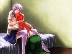 2girls bed between_thighs blush braid breast_sucking holding_head hong_meiling izayoi_sakuya multiple_girls open_clothes open_shirt red_hair shirt thighhighs touhou umaco yuri