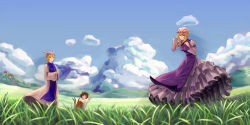3girls animal_ears armband blonde_hair blue_sky blurry bow breasts brown_hair cat_ears chen cloud depth_of_field dress ears field frilled_dress frills grass green_hat hair_bow hair_up hakurei_shrine hand_in_hair hands_together hat hat_ribbon highres hill long_sleeves looking_at_viewer mob_cap mountain multiple_girls multiple_tails naipi_sang nature no_tails payout red_skirt ribbon scenery short_hair skirt sky stairway tabard tail torii touhou two_tails vest waving white_dress wind yakumo_ran yakumo_yukari
