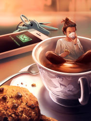 1girl biscuit blurry brown_hair brown_pants cellphone cup cyril_rolando depth_of_field drinking eyes_closed food hair_bun hair_slicked_back highres holding holding_cup holding_food in_container in_cup indian_style key long_sleeves minigirl original pants partially_submerged phone saucer shirt short_hair sitting smartphone solo spoon table tea teacup white_shirt