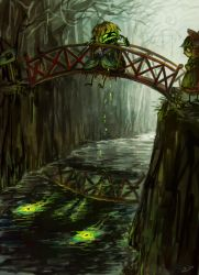 2girls arm_warmers blonde_hair bridge crying different_reflection forest gohei green_eyes hakurei_reimu koto_inari mizuhashi_parsee monster multiple_girls nature noose open_mouth pointy_ears reflection river short_hair sign silhouette sitting tears touhou tree