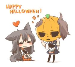 2girls akagi_(kantai_collection) animal_ears black_eyes black_hair blush brown_hair chibi eating english eyes_closed fang food food_on_face halloween hands_on_own_face heart kaga_(kantai_collection) kantai_collection long_hair mask multiple_girls open_mouth pumpkin rebecca_(keinelove) short_hair side_ponytail sitting smile tail wolf_ears wolf_tail