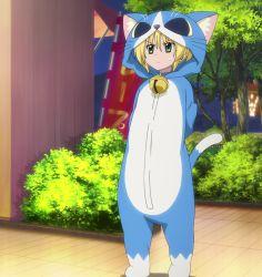 1girl animal_costume bell blonde_hair bush cat_costume costume green_eyes hayate_no_gotoku! highres sanzen'in_nagi solo standing sweatdrop