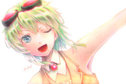1girl armpits blue_eyes dutch_angle goggles goggles_on_head green_hair gumi millipen_(medium) one_eye_closed open_mouth outstretched_arms portrait short_hair signature simple_background smile solo tesun_(g_noh) traditional_media vocaloid watercolor_pencil_(medium) white_background