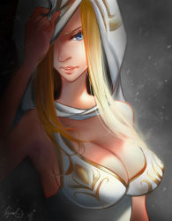 1girl alternate_costume alternate_hair_color ashe_(league_of_legends) bare_shoulders blonde_hair blue_eyes breasts cleavage large_breasts league_of_legends long_hair parted_lips