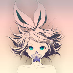 1girl absurdres aqua_eyes bare_shoulders bow collarbone covered_mouth floating_hair flower_in_mouth hair_bow hair_ornament hairclip highres kagamine_rin looking_at_viewer monochrome mouth_hold nude out-of-frame_censoring pink_background purple_flower shinku_pack short_hair solo topless vocaloid
