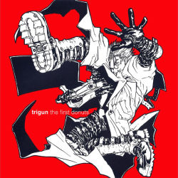 1boy album_cover artist_request cover english gloves gun long_coat monochrome official_art red_background simple_background solo sunglasses text trigun vash_the_stampede weapon