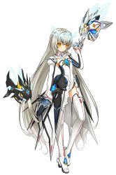 1girl artist_request boots code:_battle_seraph_(elsword) elsword eve_(elsword) expressionless gem gloves highres leotard long_hair no_nose official_art robot solo standing thigh_boots thighhighs twintails very_long_hair white_background white_boots white_hair white_legwear yellow_eyes