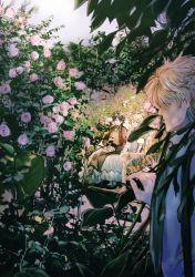 1girl 2boys child dio_brando erina_pendleton flower garden jojo_no_kimyou_na_bouken jonathan_joestar manmaru93 multiple_boys nature rose sitting
