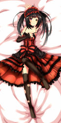 1girl armpits black_hair black_legwear breasts cleavage date_a_live detached_sleeves duong garter_straps hairband heterochromia highres lolita_hairband long_hair looking_at_viewer lying on_back red_eyes showing_armpits solo thighhighs tokisaki_kurumi torn_clothes torn_thighhighs yellow_eyes