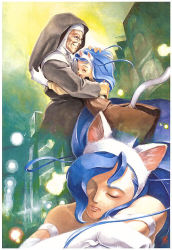 2girls animal_ears artist_request bare_shoulders blue_hair cat_ears cat_tail child eyes_closed felicia glasses happy hug lamppost multiple_girls nun old_woman one-eyed parted_lips signature sleeping tail traditional_media vampire_(game) younger