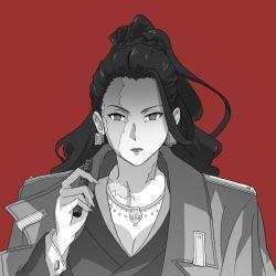 balalaika_(black_lagoon) balalaika_(cosplay) black_lagoon executive_mishiro idolmaster idolmaster_cinderella_girls monochrome scar