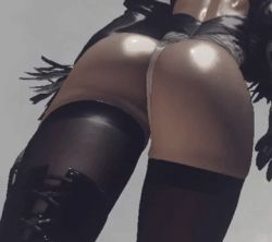 1girl 3d animated animated_gif ass back feather_trim from_behind from_below gloves huge_ass leotard nier_(series) nier_automata shiny_skin solo thighhighs thighs thong_leotard vambraces walking yorha_no._2_type_b