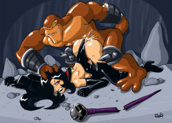 1girl ass battletoads bestiality black_hair breasts cape cave cum dahs dark_queen defeated doggystyle evil female gloves hair_over_one_eye hetero huge_breasts jewelry large_breasts latex latex_gloves leotard long_hair male muscle no_bra penetration rape sex smile sunglasses wand