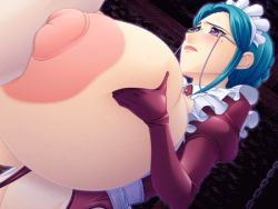 1girl animated animated_gif areolae blue_hair blush breast_expansion breast_squeeze breasts censored chains cum elbow_gloves facial gigantic_breasts glasses gloves huge_nipples large_areolae lips lipstick long_nipples maid maid_headdress milf mole mosaic_censoring nakagama_yasukazu nipples paizuri penis puffy_nipples purple_eyes solo_focus