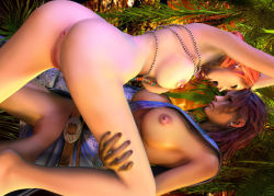 2girls 3d 3dbabes absurdres ass final_fantasy final_fantasy_xiii highres multiple_girls nude oerba_dia_vanille oerba_yun_fang uncensored yuri
