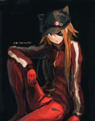 1girl animal_ears animal_hat arm_support badge bangs black_background blue_eyes bodysuit button_badge cabbie_hat character_name eyepatch fake_animal_ears from_side gloves hat hat_ornament head_tilt highres jacket knee_up long_hair looking_at_viewer neon_genesis_evangelion orange_hair pilot_suit plugsuit rebuild_of_evangelion serious simple_background single_vertical_stripe sitting sketch skull_print small_breasts solo soryu_asuka_langley track_jacket turtleneck