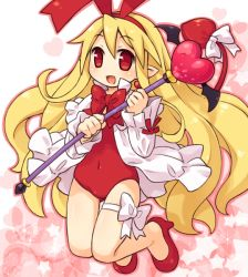 1girl bare_legs blonde_hair bow clothed_navel demon_girl demon_tail disgaea earrings fang flonne flonne_(fallen_angel) hairband heart high_heels jewelry long_hair mizuno_mumomo nippon_ichi pointy_ears red_eyes smile solo staff tail tail_bow thigh_strap wings