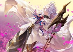 1boy commentary_request fate/grand_order fate_(series) geroro hood long_hair male_focus merlin_(fate/stay_night) open_mouth petals purple_eyes robe smile solo staff white_hair wide_sleeves