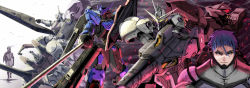 1boy blue_hair closed_mouth commentary gaelio_bauduin glowing glowing_eyes graze_ein grey_eyes gundam gundam_kimaris gundam_kimaris_trooper gundam_kimaris_vidar gundam_tekketsu_no_orphans gundam_vidar highres holding holding_weapon lance mask mecha paychine polearm rapier scar science_fiction solo spoilers sword thrusters vidar weapon