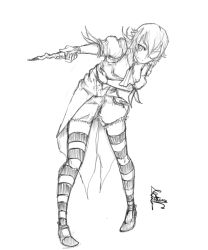 1girl bent_over blouse cravat fatuus greyscale highres holding_stomach lolita_fashion meredith_thorne monochrome one_eye_closed shoes short_hair sketch striped striped_legwear tailcoat thighhighs waistcoat wand weapon zettai_ryouiki