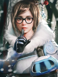 1girl bangs beads black-framed_eyewear blue_gloves brown_eyes brown_hair coat cursedapple drone eyelashes finger_to_mouth fur-lined_jacket fur_coat fur_trim glasses gloves hair_bun hair_ornament hair_stick hand_up highres lips lipstick machinery makeup mei_(overwatch) nose overwatch parted_bangs parted_lips pink_lips realistic robot short_hair shushing sidelocks smile snow snowflake_hair_ornament snowflakes snowing solo swept_bangs tree upper_body winter_clothes winter_coat