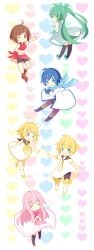 2boys 4girls ^_^ adapted_costume black_legwear blonde_hair blue_eyes blue_hair bow brown_eyes brown_hair dress eyes_closed green_eyes green_hair hair_bow hair_ornament hairclip hatsune_miku heart highres hyou_(pixiv3677917) kagamine_len kagamine_rin kaito megurine_luka meiko multiple_boys multiple_girls one_eye_closed open_mouth pink_hair scarf smile twintails vocaloid