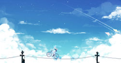 1girl aqua_hair bai_yemeng bicycle black_shirt character_name cloud cloudy_sky condensation_trail day from_side ground_vehicle hatsune_miku highres hood hoodie kite long_hair long_sleeves outdoors profile revision riding shirt shorts sky solo telephone_pole twintails vocaloid