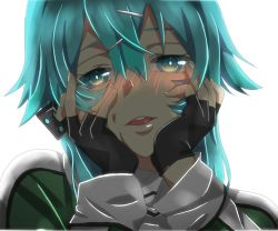 1girl aqua_eyes aqua_hair blush fingerless_gloves gloves hair_ornament hairclip hands_on_own_cheeks hands_on_own_face looking_at_viewer open_mouth parody shinon_(sao) short_hair smile solo sword_art_online yandere yandere_trance