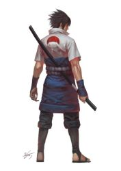 1boy artist_name black_hair bokken from_behind full_body in-hyuk_lee japanese_clothes male_focus naruto naruto_shippuuden realistic red_eyes sandals signature solo sword uchiha_sasuke weapon wooden_sword