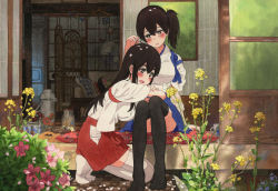2girls akagi_(kantai_collection) architecture arm_at_side black_legwear blue_skirt blush butterfly couch cup east_asian_architecture elbow_rest floral_print flower flower_request hair_between_eyes hakama hakama_skirt japanese_clothes kaga_(kantai_collection) kantai_collection kneeling lamp lips long_hair looking_at_another looking_down lying_on_lap miniskirt multiple_girls open_mouth outdoors plant red_skirt shijukara_(great_tit) short_hair short_ponytail side_ponytail sitting skirt sliding_doors straight_hair teapot thighhighs thighs traditional_media watercolor_(medium) white_legwear wooden_floor