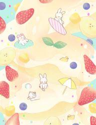 beach_umbrella bear bird blue_background blueberry bunny cat food fruit goggles goggles_on_head innertube no_humans original pancake r. strawberry