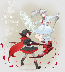2girls absurdres black_hair blue_eyes cape crescent_rose english eye_scar highres iesupa jacket multiple_girls myrtenaster petals ponytail ruby_rose rwby scythe silver_eyes sword weapon weiss_schnee white_hair white_jacket