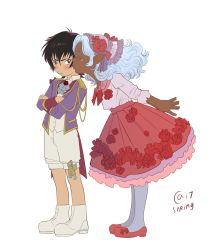 1boy 1girl black_eyes brown_hair cheek_kiss child crossed_arms dark_skin dress facial_mark flower_skirt headdress hyakujuu-ou_golion jacket keith_(voltron) kiss pantyhose pink_dress pointy_ears princess_allura sasha_gladysh shorts silver_hair voltron:_legendary_defender younger