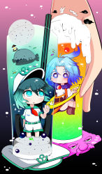 2girls :o anchor animal aqua_eyes aqua_hair bird blue_eyes blue_hair boots cherry chibi cloud cup drink drinking_glass drinking_straw facial_hair fish floating_hair food fruit glass gradient gradient_background hand_on_glass hat hat_ornament highres hood hoop ice ice_cube jewelry kesa knees_up kumoi_ichirin kunitori looking_at_another multiple_girls murasa_minamitsu mustache nun ocean_bottom ponytail ring sailor sailor_collar sailor_hat shorts smile standing submerged touhou underwater unzan
