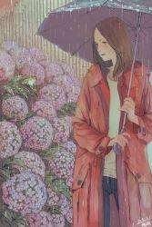 1girl absurdres artist_name bamboo blush brown_hair dated flower frog highres lipstick long_hair makeup original rain raincoat smile solo umbrella water_drop zennosuke