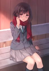 1girl bench black_hair fukahire_sanba glasses looking_at_viewer original scarf school_uniform short_hair solo