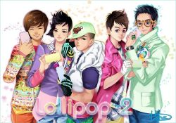 5boys baseball_cap bigbang black_hair blazer brown_eyes brown_hair copyright_name daesung earrings eyes_closed flower g-dragon glasses gloves hat hat_over_one_eye jeans jewelry k-pop lapel_pin looking_at_viewer male multiple_boys musician orange_pants phone ring seungri_(bigbang) skeletal_print smile smiley sweater t.o.p_(bigbang) taeyang tie_dye vest