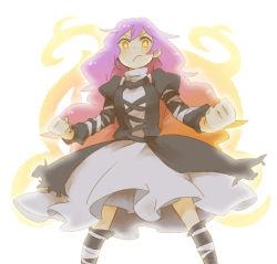 blonde_hair breasts brown_eyes dress gradient_hair hijiri_byakuren long_hair multicolored_hair purple_hair touhou